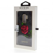 Guess Flower Desire Leather Hard Case - дизайнерски кожен кейс за Samsung Galaxy S9 Plus (сив) 3