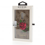 Guess Flower Desire Leather Hard Case - дизайнерски кожен кейс за Samsung Galaxy S9 Plus (кафяв) 2