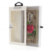 Guess Flower Desire Leather Hard Case - дизайнерски кожен кейс за Samsung Galaxy S9 Plus (кафяв) 3