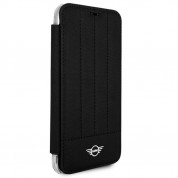 Mini Cooper Debossed Lines PU Leather Booktype Case - кожен калъф, тип портфейл за iPhone XS, iPhone X (черен) 1