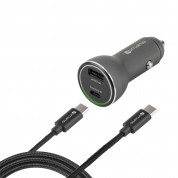 4smarts Fast Car Charger Set iPD for devcies with USB-C port (black)