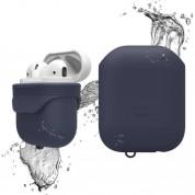 Elago Airpods Waterproof Case - водоустойчив силиконов калъф за Apple Airpods (тъмносин)