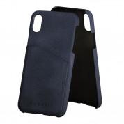 Bugatti Londra Case - велурен кейс за iPhone XS, iPhone X (син)