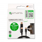 4smarts ComboCord 5A USB-A and USB-C to USB-C cable (black) 4