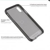 Tech21 Evo Check Case - хибриден кейс с висока защита за iPhone XS, iPhone X (черен-прозрачен) 4