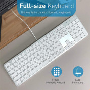 Macally Slim USB Keyboard 104 Key Full-Size - USB клавиатура оптимизирана за MacBook (бял)  5