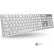 Macally Slim USB Keyboard 104 Key Full-Size - USB клавиатура оптимизирана за MacBook (бял)