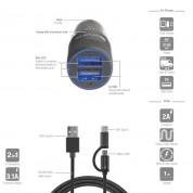 4smarts Car-Bundle Hybrid 15.5W with 2in1 ComboCord Cable - зарядно за кола и качествен кабел с оплетка от неръждаема стомана за microUSB и USB-C стандарти 150 см. (черен) 6