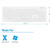 Macally 104 Key Full Size USB Keyboard with Two USB 2.0 Ports - клавиатура с два USB порта за Mac и PC (бял)  4