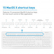 Macally 104 Key Full Size USB Keyboard with Two USB 2.0 Ports - клавиатура с два USB порта за Mac и PC (бял)  3