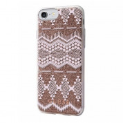 Guess Aztec Soft TPU Case - дизайнерски термополиуретанов кейс за iPhone 8, iPhone 7, iPhone 6S, iPhone 6 (прозрачен-златист)