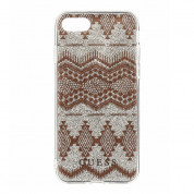 Guess Aztec Soft TPU Case - дизайнерски термополиуретанов кейс за iPhone 8, iPhone 7, iPhone 6S, iPhone 6 (прозрачен-златист) 1