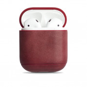 Krusell Sunne Leather Case - кожен калъф (ествествена кожа) за Apple Airpods (червен)
