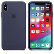 Apple Silicone Case - оригинален силиконов кейс за iPhone XS Max (тъмносин) 2