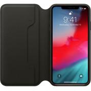 Apple Leather Folio Case - оригинален кожен (естествена кожа) калъф за iPhone XS Max (черен) 1