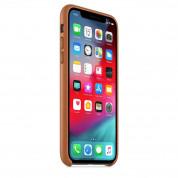 Apple iPhone Leather Case - оригинален кожен кейс (естествена кожа) за iPhone XS (кафяв) 4