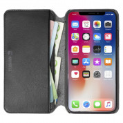 Krusell Pixbo 4 Card Slim Wallet Case - кожен калъф, тип портфейл за iPhone XS Max (черен) 3