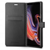Spigen Wallet S Case - кожен калъф, тип портфейл и поставка за Samsung Galaxy Note 9 (черен) 2