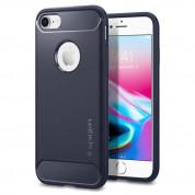 Spigen Rugged Armor Case - термополиуретанов кейс с най-висока степен на защита за iPhone 8, iPhone 7 (тъмносин)