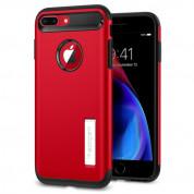 Spigen Slim Armor Case - хибриден кейс с поставка и най-висока степен на защита за iPhone 8 Plus, iPhone 7 Plus (червен)