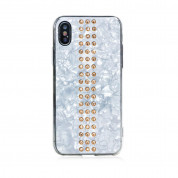 Bling My Thing Stripe TPU Gold Swarovski - силиконов (TPU) калъф с кристали Сваровски за iPhone XS, iPhone X (бял) 1