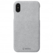 Krusell Broby Cover Case - велурен кейс за iPhone XS, iPhone X (сив) 3
