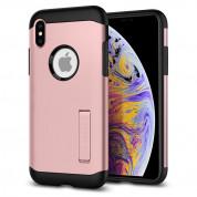 Spigen Slim Armor Case - хибриден кейс с поставка и най-висока степен на защита за iPhone XS Max (розов)