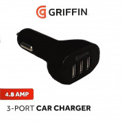 Griffin 3-Port 4.8A USG Car Charger - зарядно за кола 4.8A с 3 USB изхода
