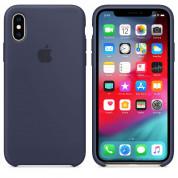 Apple Silicone Case - оригинален силиконов кейс за iPhone XS (тъмносин) 1