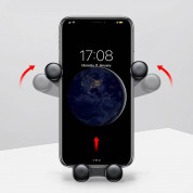 Baseus Emoticon Gravity Car Mount - поставка за радиатора на кола за смартфони с дисплеи до 6 инча (черна) 6