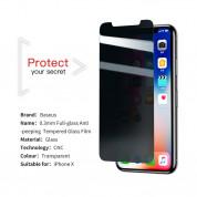 Baseus Privacy Tempered Glass - калено стъклено защитно покритие с определен ъгъл на виждане за дисплея на iPhone XS, iPhone X 4