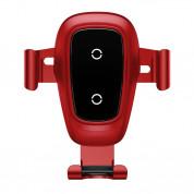 Baseus Metal Wireless Charger Gravity Car Mount - поставка за радиатора на кола с безжично зареждане за Qi съвместими смартфони (червен) 1