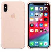 Apple Silicone Case - оригинален силиконов кейс за iPhone XS (пясъчна роза) 3