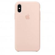 Apple Silicone Case - оригинален силиконов кейс за iPhone XS (пясъчна роза)