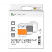4smarts Wireless Charging Case - предпазен калъф за безжично зареждане за Apple Airpods (бял-оранжев) 5