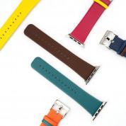 4smarts Leather Duett Wrist Band - кожена каишка за Apple Watch 38мм, 40мм (кафяв-син) 2