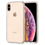 Spigen Liquid Crystal Glitter Case - тънък качествен термополиуретанов калъф за iPhone XS, iPhone X (прозрачен)