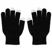 Зимни плетени ръкавици за тъч екрани Skeleton Unisex Size M/L (черен-бял) 1