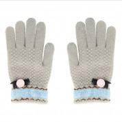 Зимни дамски плетени ръкавици за тъч екрани Size M/L (сиви)