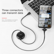 Baseus Little Octopus 3in1 Cable MicroUSB, USB-C and Lightning Connectors - качествен USB кабел с Lightning, microUSB и USB-C конектори (черен) 4