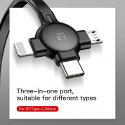 Baseus Little Octopus 3in1 Cable MicroUSB, USB-C and Lightning Connectors - качествен USB кабел с Lightning, microUSB и USB-C конектори (черен) 3
