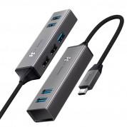 Baseus USB-C Cube Hub Adapter (CAHUB-D0G) - алуминиев 5-портов USB-C хъб за компютри и лаптопи (тъмносив) 1