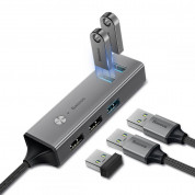 Baseus USB-C Cube Hub Adapter (CAHUB-D0G) - алуминиев 5-портов USB-C хъб за компютри и лаптопи (тъмносив) 2