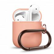 Elago Airpods Silicone Hang Case - силиконов калъф с карабинер за Apple Airpods (оранжев)