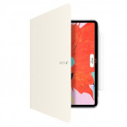 SwitchEasy CoverBuddy Folio Case - кожен кейс с поставка и отделение за Apple Pencil 2 за iPad Pro 12.9 (2018) (бял)