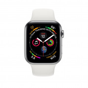 Apple Watch Series 4, 44mm Stainless Steel Case with White Sport Band, GPS + Cellular - умен часовник от Apple 1
