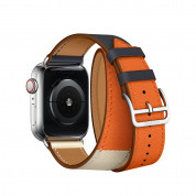 Apple Watch Hermès Series 4, 40mm Stainless Steel Case with Indigo/Orange Swift Leather Double Tour, GPS + Cellular 3