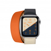 Apple Watch Hermès Series 4, 40mm Stainless Steel Case with Indigo/Orange Swift Leather Double Tour, GPS + Cellular 1