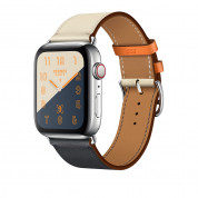 Apple Watch Hermès Series 4, 44mm Stainless Steel Case with Indigo/Orange Swift Leather Single Tour, GPS + Cellular - умен часовник от Apple