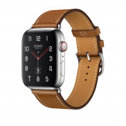 Apple Watch Hermès Series 4, 44mm Stainless Steel Case with Fauve Barenia Leather Single Tour, GPS + Cellular - умен часовник от Apple